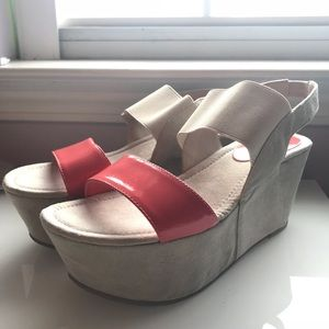 ModCloth Pink and gray wedges